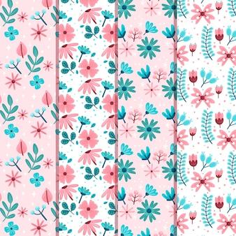 Colección de patrones de primavera temáticos de diseño plano