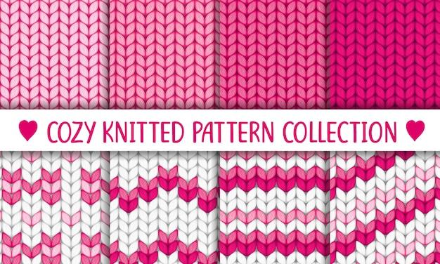 Colección de patrones de punto rosa y blanco, niña