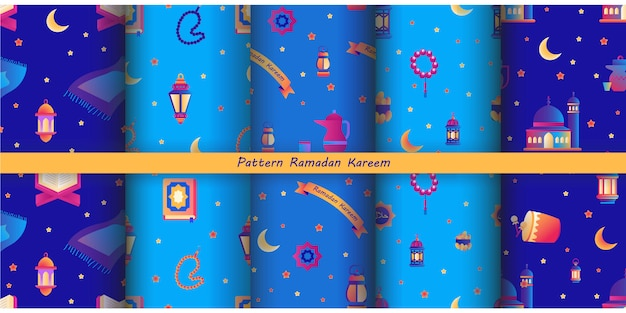 Colección de patrones de ramadán kareem