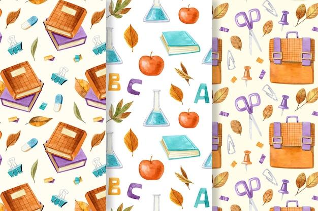 Colección de patrones de regreso a la escuela en acuarela