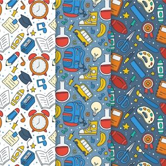 Colección de patrones de regreso a la escuela dibujados a mano