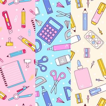 Colección de patrones de regreso a la escuela de dibujos animados