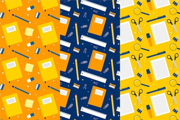 Colección de patrones de regreso a la escuela en diseño plano