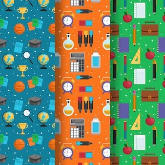 Colección de patrones con regreso a la escuela