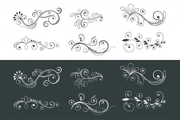 Colección de patrones de remolino de decoración floral ornamental