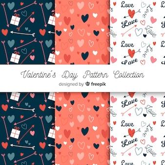 Colección patrones san valentín corazones, palabras y flechas