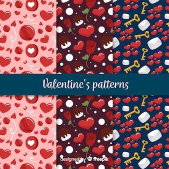 Colección patrones san valentín dibujado a mano