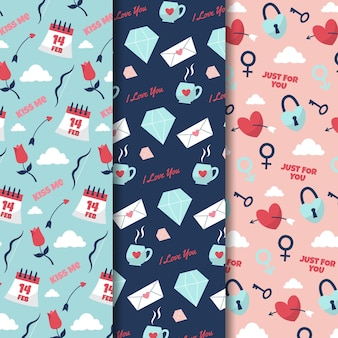 Colección de patrones de san valentín dibujados a mano