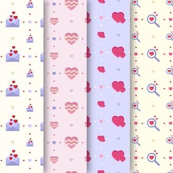 Colección de patrones de san valentín en diseño plano