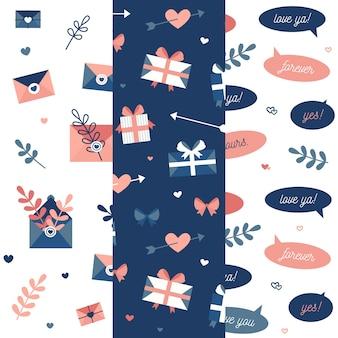 Colección de patrones de san valentín de diseño plano