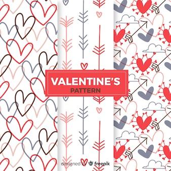 Colección patrones san valentín flechas y corazones