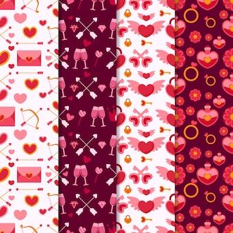 Colección de patrones de san valentín con gafas y sobres
