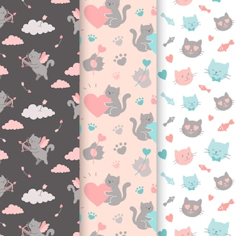 Colección de patrones de san valentín con gatos