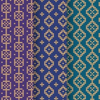 Colección de patrones de songket azul degradado