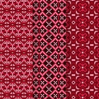 Colección de patrones de songket rojo