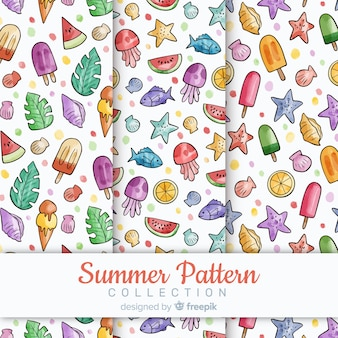 Colección de patrones de verano de acuarela