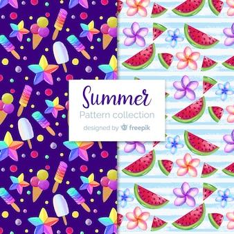 Colección patrones verano acuarela