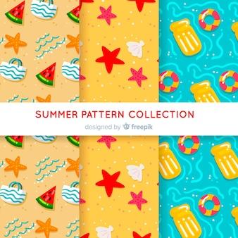 Colección patrones verano dibujados a mano