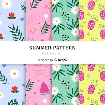 Colección patrones de verano dibujados a mano