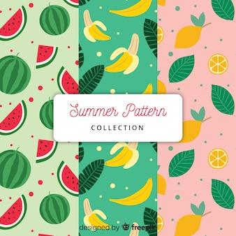 Colección de patrones de verano en estilo flat