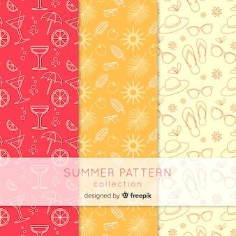 Colección de patrones de verano flat