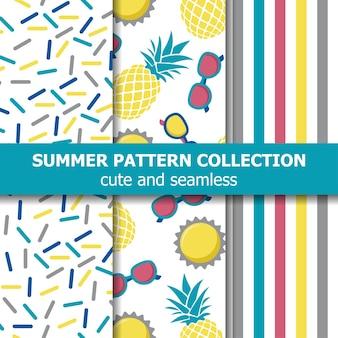 Colección de patrones de verano jugoso. tema de la piña.