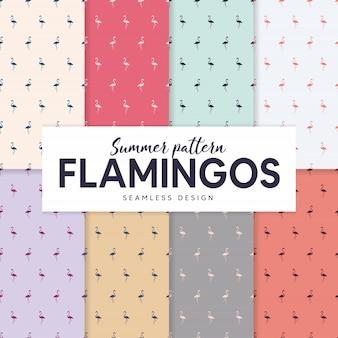Colección de patrones de verano con siluetas de flamencos.