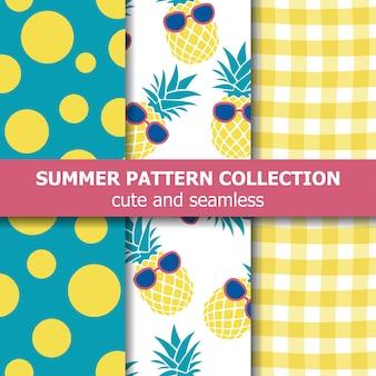 Colección de patrones de verano tropical. tema de la piña.