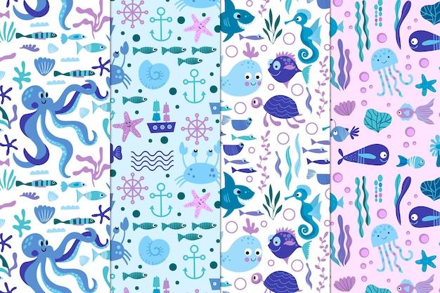 Colección de patrones de vida marina
