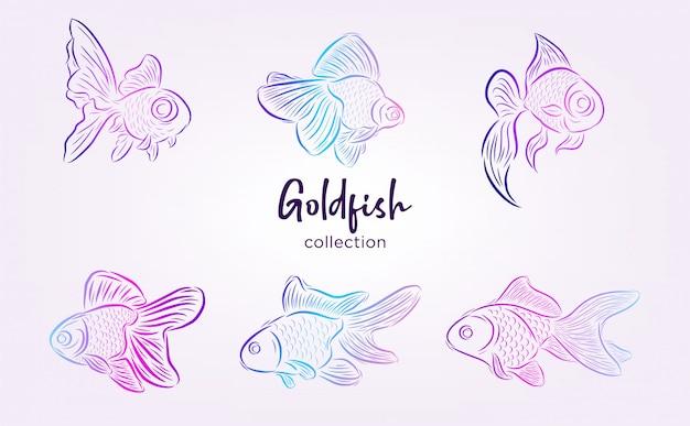 Colección de peces de colores con arte lineal y color degradado