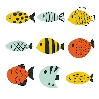 Colección de peces de diseño vectorial.