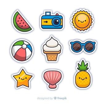 Colección pegatina de verano kawaii