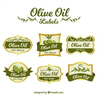 Colección de pegatinas de aceite de oliva