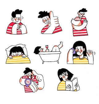 Colección de pegatinas adorables interacciones doodle ilustración