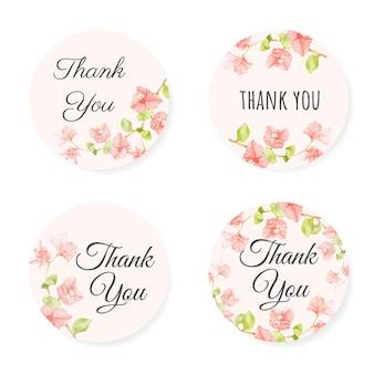 Colección de pegatinas de agradecimiento de buganvillas rosa acuarela