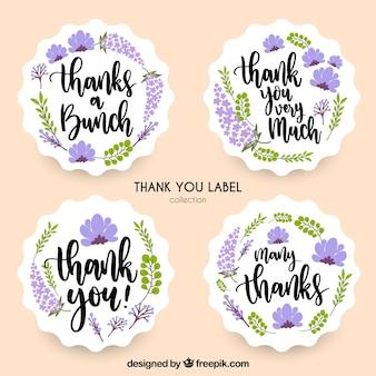 Colección de pegatinas de agradecimiento con lavanda