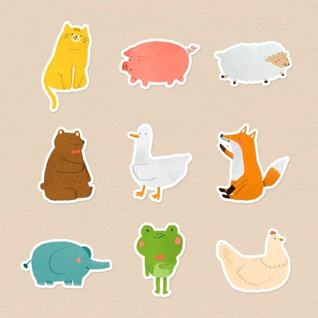 Colección de pegatinas de animales dibujados a mano