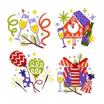 Colección de pegatinas de año nuevo dibujadas a mano