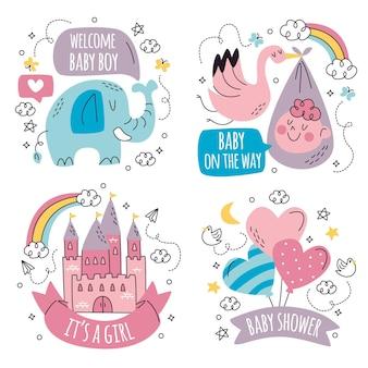 Colección de pegatinas de baby shower doodle dibujados a mano
