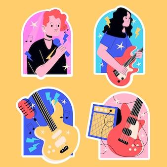Colección de pegatinas de bandas de música.