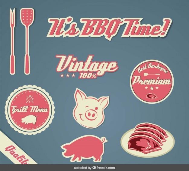 Colección de pegatinas bbq vintage