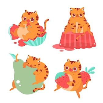 Colección de pegatinas de bernie el gato dibujadas a mano