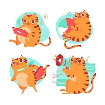 Colección de pegatinas de bernie the cat dibujadas a mano