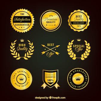 Colección de pegatinas de calidad suprema doradas