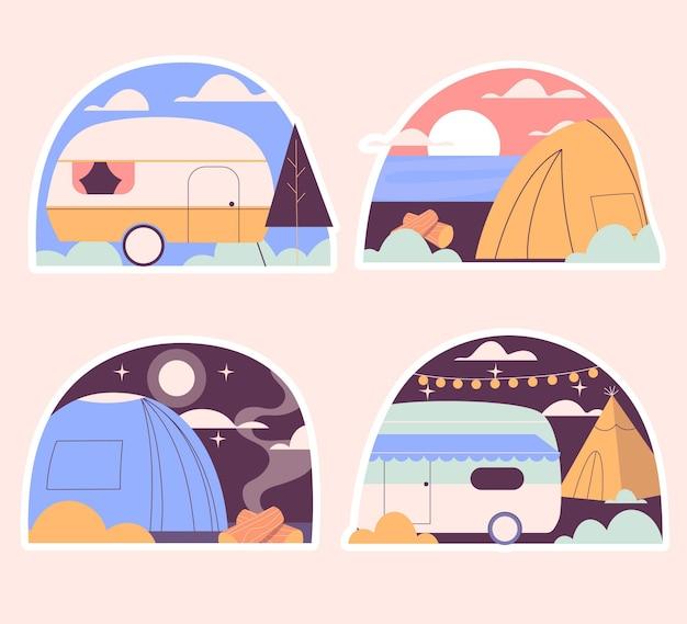 Colección de pegatinas de camping ingenuo