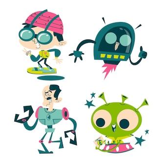 Colección de pegatinas de ciencia ficción de dibujos animados