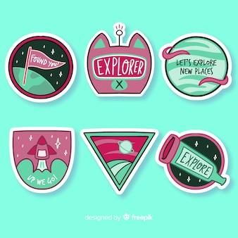 Colección de pegatinas de colores de diseño plano