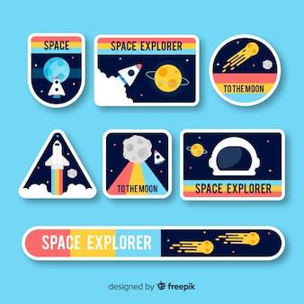 Colección de pegatinas de colores del espacio