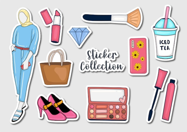 Colección de pegatinas coloridas dibujadas a mano