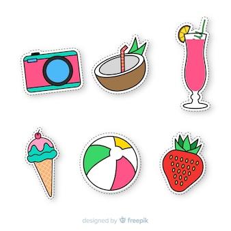 Colección de pegatinas coloridas de verano dibujadas a mano